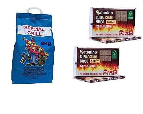 Kit Barbecue YesEatIs - 8 Kg Carbobois Holzkohle + 48 Feuer-Anzuender Wuerfeln Satanino 100% Vegetaell