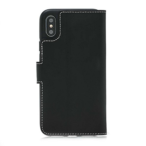 Burkley Apple iPhone X Leder-Hülle | Premium Handyhülle | Ledertasche | Handytasche | Schutzhülle | Book Cover | Case | Etui mit Kartenfach (Vintage Cognac Braun) Schwarz