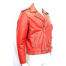hombre chaqueta de moto rojo de cuero de brando moto vaca real hide