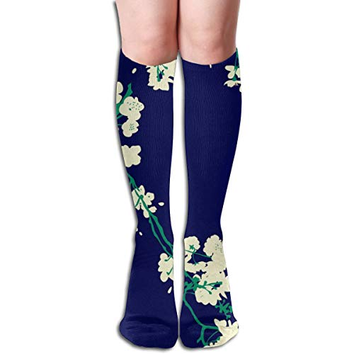 Women's Fancy Design Stocking Cherry Blossoms - Navy U Emerald Multi Colorful Patterned Knee High Socks 19.6Inchs Blossom Navy