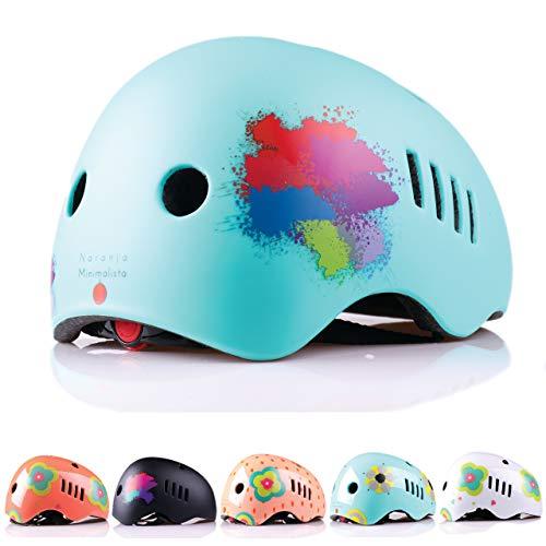 Naranja Minimalista® Kinder Designer Helme und Reisetasche Sicherheit Zertifiziert für Scooting-Radfahren, Kinder, Turquoise Blue Combat Matte, Medium- 54-58 cm