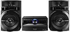 Idea Regalo - Panasonic SC- UX100E-K Sistema Mini, 300 W, Speaker a 2 Vie, Woofer da 13 cm, Lettore CD, CD-R/R W, Bluetooth, USB, Radio 30FM/15AM RDS, AUX, Audio di Qualità, Illuminazione Blu, Nero