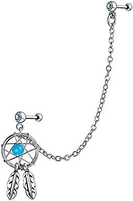 Bling Jewelry Acero 316L color Turquesa Dream Gatocher Cartílago arete Cadena