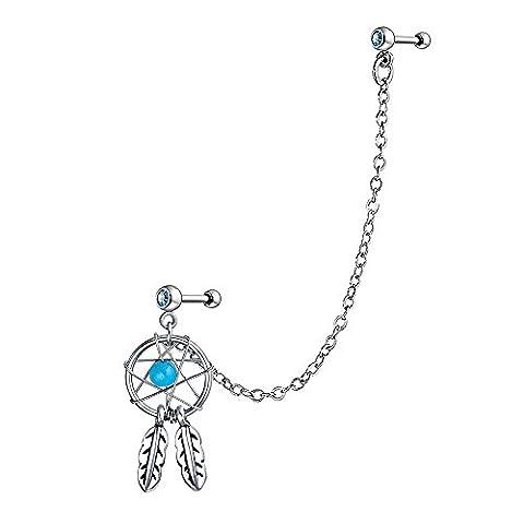 Bling Jewelry Boucles d'oreille en forme capteur de reves pendant en argent - Nativo Americano Del Turchese Orecchini
