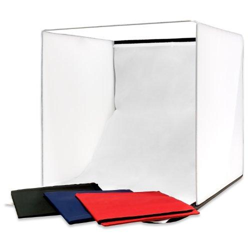 Lichtwürfel tragbares Lichtzelt Fotozelt Set 4 in 1 40x40x40cm Blau Schwarz Rot Weiß Original Qualilux…