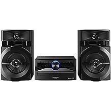Panasonic SC- UX100E-K Sistema Mini, 300 W, Speaker a 2 Vie, Woofer da 13  cm, Lettore CD, CD-R/R W, Bluetooth, USB, Radio 30FM/15AM RDS, AUX, Audio di Qualità, Illuminazione Blu, Nero