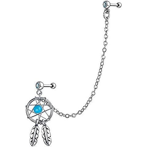 Bling Jewelry 316L Acciaio Turchese Colore Dream Catcher catena cartilagine orecchino - Nativo Americano Del Turchese Orecchini