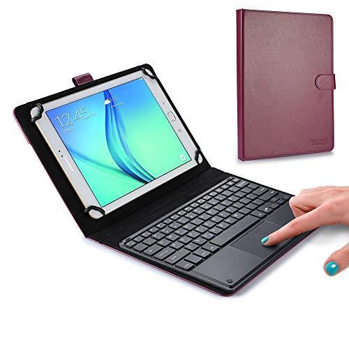 """9-10.5\"""" Zoll Tablethülle mit Tastatur, Cooper TOUCHPAD Executive 2-in-1 kabellose Bluetooth-Tastatur mit Maus, Leder, Reisehülle, Hülle, Halter, Schutzhülle, Mappe + Stand (Violett)"""