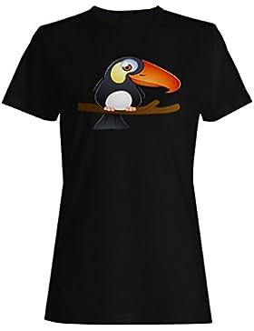 Sonrisa Divertida Del Pájaro Loco camiseta de las mujeres o249f