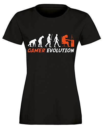 ... Damen Rundhals T-Shirt Schwarz/Weiss-orange. Gamer Evolution - Evolution  Computer, Playstation XBox Spieler - Perfektes Geschenk für jeden Zocker -