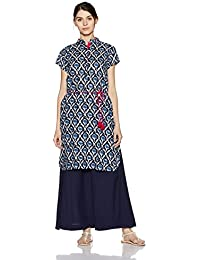 Indi lite Women's Straight Cotton Kurta