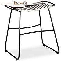 Relaxdays Polyrattan Hocker, karierter Gartenhocker, Sitzhocker HBT 48 x 45 x 30 cm, schwarz-weiß