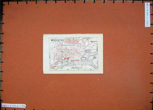 old-original-antique-victorian-print-1926-colour-map-france-street-plan-rochefort-charente-109d187