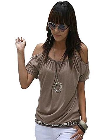Japan Style von Mississhop Damen Top T - Shirt Bluse Longshirt Tunika Tanktop Oberteil Nata kakao XL