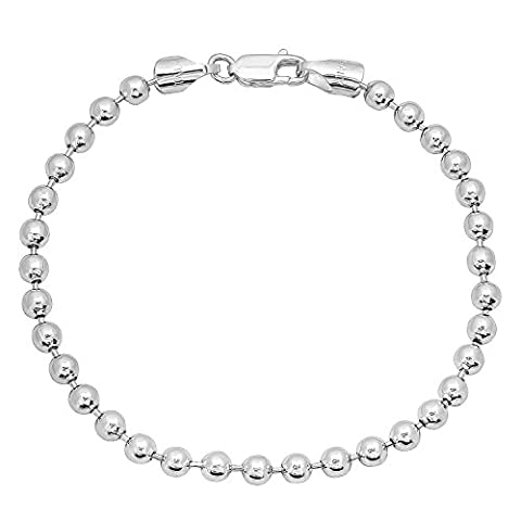 Men's 4mm Real 925 Sterling Silver Military Ball Bracelet, 8