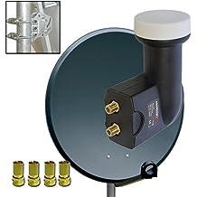 80cm HD Digital Sat Anlage Stahl Anthrazit SAT ANTENNE + Sat Twin LNB 0,1dB PremiumX PXT-SE FULL HD 3D Digital tauglich für 2 + 4x F-Stecker