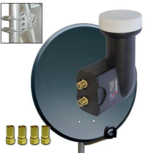 Antenne PremiumX PXS60 Stahl 60cm Digital Sat Schüssel Spiegel in Anthrazit + PremiumX Sat Twin LNB 0,1dB PXT-SE FULL HD 3D Digital für 2 Teilnehmer + 4x F-Stecker