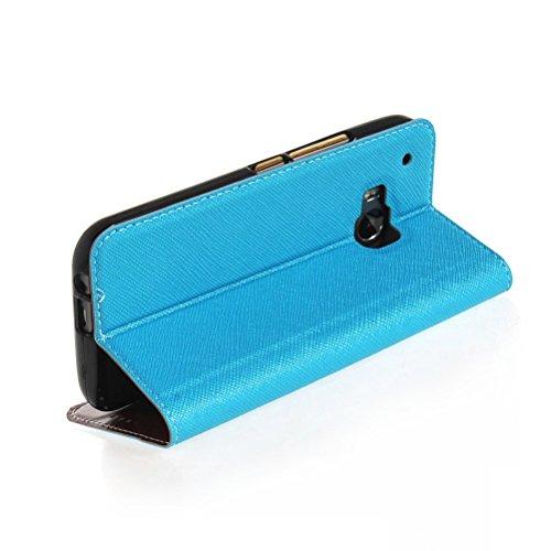 MOONCASE Coque en Cuir Portefeuille Housse de Protection Étui à rabat Case pour Apple iPhone 6 Plus saphir Bleu Blanc