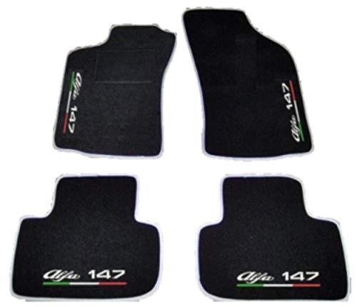 ALFA ROMEO 147Fußmatten für Auto schwarz mit silber Rand, Komplettset-Gummimatten passgenau, Stickerei auf Draht Linie Tricolore Kostenloser Versand Bianco