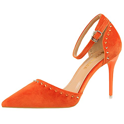 Oasap Women's Pointed Toe Ankle Strap High Heels Rivet Pumps Orange