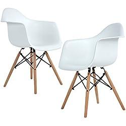 Ajie Lot de 2 Chaise de Salle à Manger, Fauteuil de Chaise latérale Design rétro Jambe de Bois de hêtre Massif - Blanc