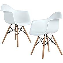 Lot de 2 chaise de salle à manger, Ajie Fauteuil de chaise latérale design rétro avec jambe de bois de hêtre massif - blanc