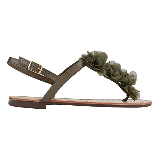 Damen Sandalen Zehentrenner Sommer Schuhe Flats Blumen Dunkelgrün Blumen