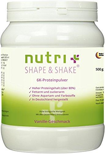 Proteinpulver Vanille 500g - ohne Aspartam - Nutri-Plus Shape & Shake mit Whey + Casein - Low Carb Eiweißpulver - Dose inkl. Dosierlöffel
