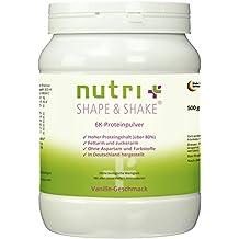 Proteinpulver Vanille 500g - ohne Aspartam - Nutri-Plus Shape & Shake mit Whey + Casein - Dose inkl. Dosierlöffel