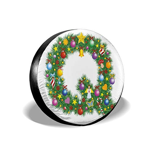 ErwangGo Tire Cover Wheel Covers,Ancient Holiday Composition with Alphabet Q with Various Tree Elements Colorful,for SUV Truck Camper Travel Trailer Accessories(14,15,16,17 Inch) 16 -