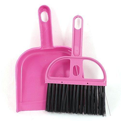 Preisvergleich Produktbild sourcingmap® Rosa schwarz Plastik Handfeger Handbesen mit Kehrblech Kehrgarnitur 2 in 1 Set