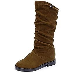 Logobeing Botines Mujer Tacon Planos Botas de Mujer Casual Plataforma Militares Tacon Zapatos de Tacón Transpirables Antideslizantes Seguridad Trabajo Altas Boots -&949(39,Marrón)