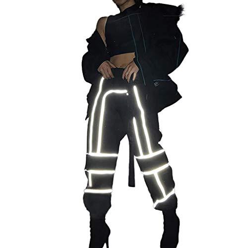 Lonshell Damen Stitching Baggyhose, Reflektierend in der Dunkelheit, High Waist Freizeithose Chino Hose Streetwear Military Länge Capri Hose Boyfriend Style Stoffhose Schlabberhose Military Chino Hose