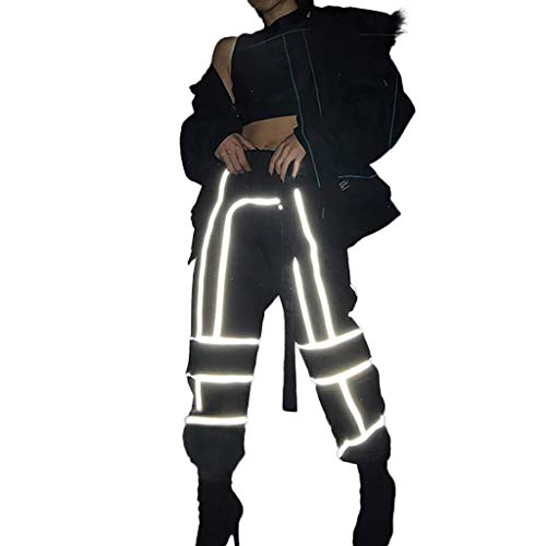 RISTHY Pantalones Reflectante Invierno Hip-Hop Jogger
