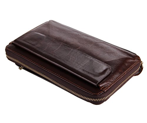 Everdoss Soft Genuine Leather Clutch Bag Card holder purse Wallet Coffee