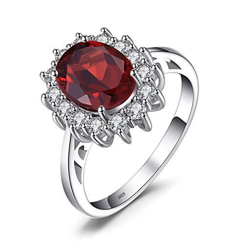 JewelryPalace Kate Principessa Diana 2.5ct Naturale Granato Halo Anello di Fidanzamento 925 Sterling Argento 11.5