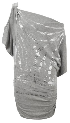 Fast Fashion Damen schulterfreies Schmetterlingsärmel Top Foil-Grey