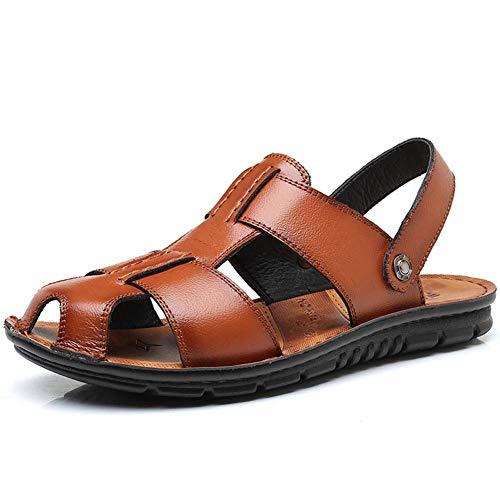 Sandali da spiaggia da uomo estate casual punta chiusa scarpe in pelle all'aperto walking flats slip on infradito caviglia wrap sneakers