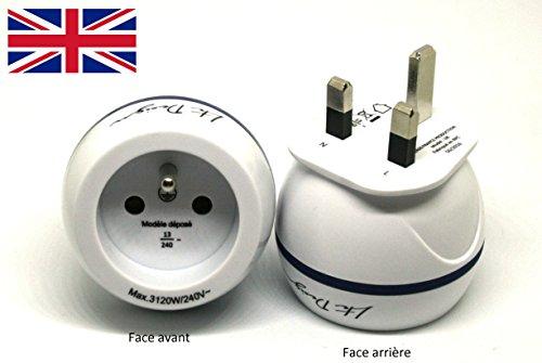 Adaptateur De Voyage France Vers Grande Bretagne GB / Angleterre / UK - Gamme Bulle- BB0165 - LTE Design - Leach Travel Euro
