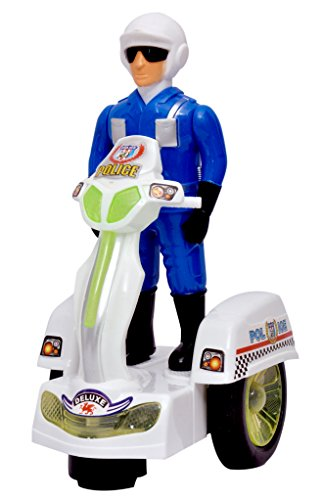 Toyshine Musical Police Scooter Toy with Bump and Go Action and 3D Lights