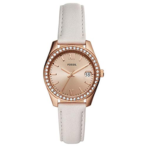 Fossil Damen Analog Quarz Uhr mit Leder Armband ES4556