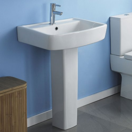 Trueshopping Esq 520mm Gloss White Square Ceramic Basin Sink and Pedestal Bathroom, En-suite Pottery