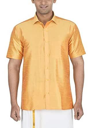 Varasiddhi Silks Men's Formal Shirt (SH-01-38, Gold, 38)