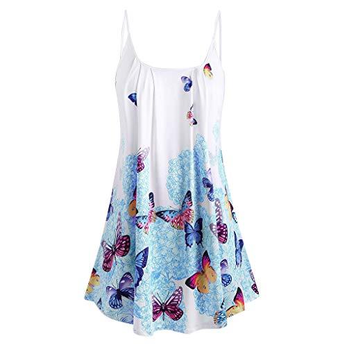 SEWORLD Kleider Damen Sommerkleider V Ausschnitt Lose A Linie Ärmellos Tunika Swing Kleid Minikleid T-Shirt Lässige Stretch Falten Bluse Tops Oberteil Baumwollshirt Blickdicht(Y1-a-blau,4XL) -