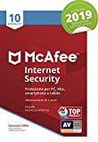 McAfee Internet Security 2019 | 10 Dispositivi | Abbonamento di 1 anno | PC/Mac/Smartphone/Tablet