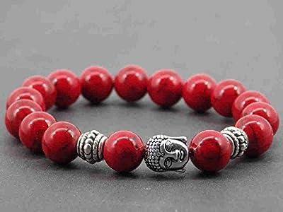 Bracelet pour femme Thurcolas ethnique Zen en perles de turquoise composée rouge et Bouddha en métal argenté
