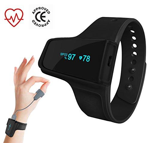 checkmetm O2Sleep monitor-portable Sauerstoff & Herzfrequenz tracker-montre mit Sensor-pouce-spo2Pulse Pulsoximeter mit Alarm-Erschütterungs intelligente-sans kabellos Bluetooth und Cloud sync-anti Schnarchen Schlaf aide-sommeil Schnorcheln Hilfe