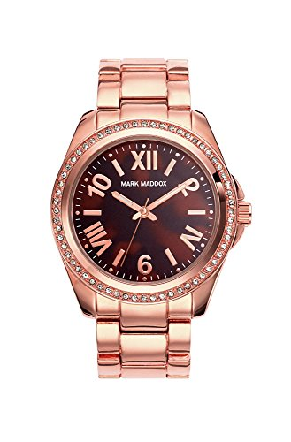 Mark Maddox Women's Quartz Watch with Brown Dial Analogue Display and Rose Gold Bracelet MM3017-43