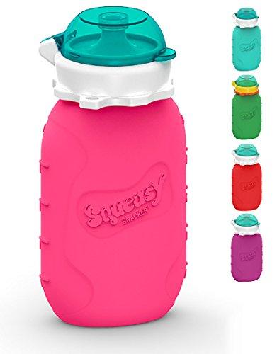 Squeasy Snacker 180ml Sacchetto Cibo Riutilizzabile Morbido Silicone per Frullati Baby Pappa Frutta Yogurt Fatti Casa. Senza BPA