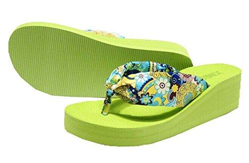 Minetom Femmes Fleur Tongs Avec Sandales De Plage Et Des Pantoufles Accessoire Vacances Chaussures Outdoor Europe Taille Vert